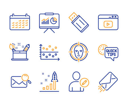 Presentation, Edit user and Search mail icons simple set. Development plan, Calendar and Quick tips signs. Dot plot, Creativity concept and Video content symbols. Line presentation icon. Colorful set