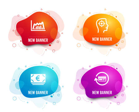 Liquid badges. Set of Euro currency, Recruitment and Infographic graph icons. Refund commission sign. Eur banking, Headhunter aim, Line diagram. Cashback card.  Gradient euro currency icon. Vector Stock fotó - 123634390
