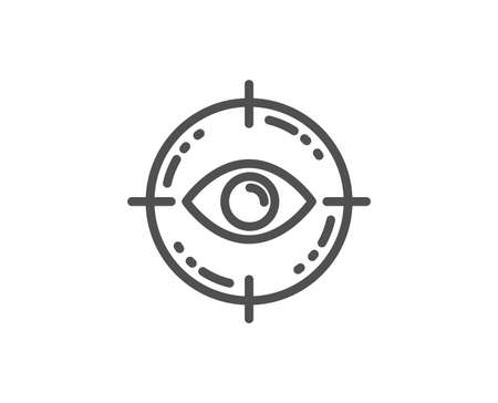 Eye target line icon. Oculist clinic sign. Optometry vision symbol. Quality design element. Linear style eye target icon. Editable stroke. Vector