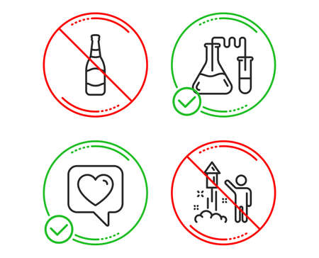 Do or Stop. Beer bottle, Chemistry lab and Heart icons simple set. Fireworks sign. Brewery, Medical laboratory, Like rating. Party pyrotechnic. Line beer bottle do icon. Prohibited ban stop. Vector