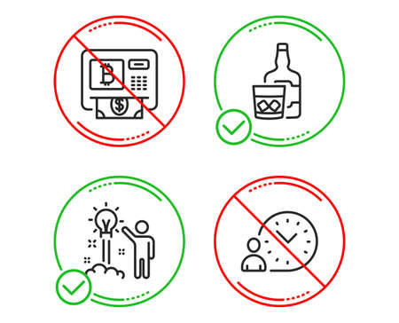 Do or Stop. Bitcoin atm, Whiskey glass and Creative idea icons simple set. Time management sign. Cryptocurrency change, Scotch drink, Startup. Work time. Business set. Line bitcoin atm do icon