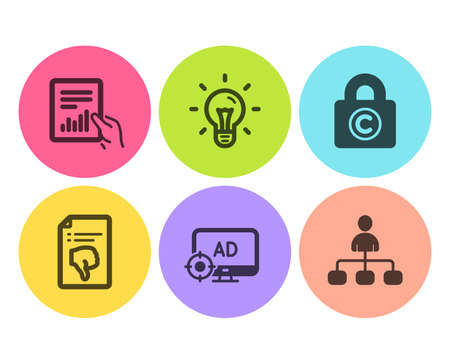 Idea, Copyright locker and Thumb down icons simple set. Seo adblock, Document and Management signs. Light bulb, Private information. Business set. Flat idea icon. Circle button. Vector Stock Vector - 123634470