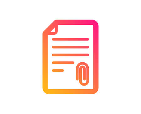 CV attachment icon. Document file symbol. Classic flat style. Gradient attachment icon. Vector Ilustrace