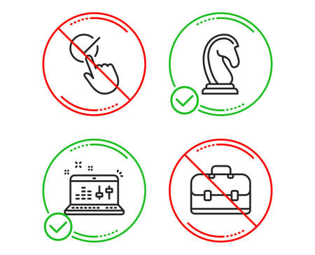 Do or Stop. Marketing strategy, Checkbox and Sound check icons simple set. Portfolio sign. Chess knight, Approved, Dj controller. Business case. Education set. Line marketing strategy do icon. Vector Illustration