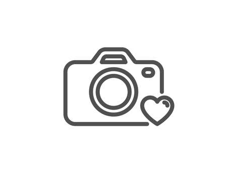 Photo camera line icon. Love photography sign. Heart symbol. Quality design element. Linear style photo camera icon. Editable stroke. Vector