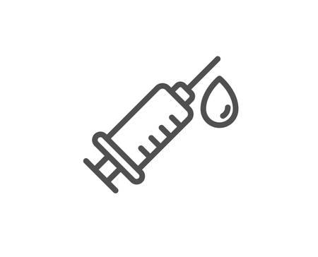 Medical syringe line icon. Medicine vaccine sign. Pharmacy medication symbol. Quality design element. Linear style medical syringe icon. Editable stroke. Vector