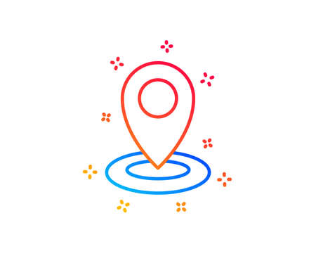 Location line icon. Map pointer sign. Gradient design elements. Linear location icon. Random shapes. Vector Illustration