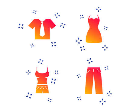 Clothes icons. T-shirt with business tie and pants signs. Women dress symbol. Random dynamic shapes. Gradient clothing icon. Vector