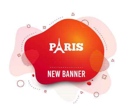 Fluid badge. Eiffel tower icon. Paris symbol. Abstract shape. Gradient paris icon. Flyer liquid banner. Vector Ilustracja