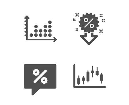Set of Dot plot, Discount message and Discount icons. Candlestick graph sign. Presentation graph, Special offer, Sale shopping. Finance chart.  Classic design dot plot icon. Flat design. Vector 向量圖像