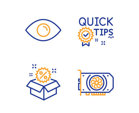 Sale, Eye and Quick tips icons simple set. Gpu sign. Discount, View or vision, Helpful tricks. Graphic card. Linear sale icon. Colorful design set. Vector Illustration