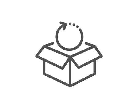 Symbol für die Paketleitung zurückgeben. Paketzustellungszeichen. Frachtgut-Box-Symbol. Hochwertiges Gestaltungselement. Symbol für Rücksendungen im linearen Stil. Bearbeitbarer Strich. Vektor