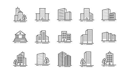 Buildings line icons. Bank, Hotel, Courthouse. City, Real estate, Architecture buildings icons. Hospital, town house, museum. Urban architecture, city skyscraper. Linear set. Vector Illustration