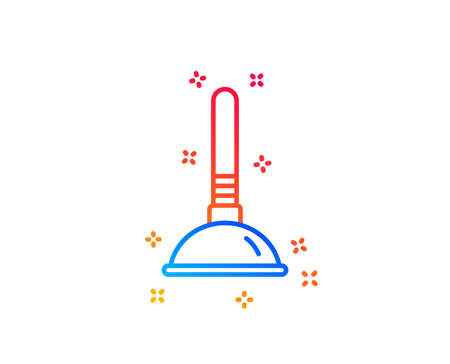 Cleaning plunger line icon. �¡leaning of pipe clogs symbol. Housekeeping equipment sign. Gradient design elements. Linear plunger icon. Random shapes. Vector Stock Illustratie