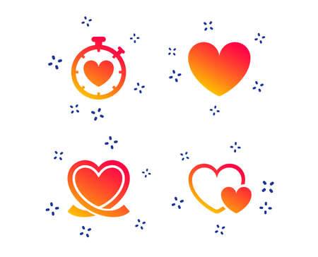 Heart ribbon icon. Timer stopwatch symbol. Love and Heartbeat palpitation signs. Random dynamic shapes. Gradient heart icon. Vector