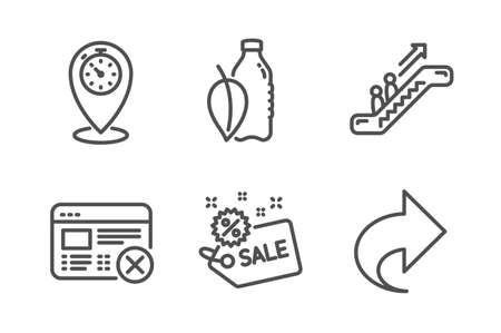 Water bottle, Reject web and Timer icons simple set. Escalator, Sale and Share signs. Mint leaf drink, No internet. Line water bottle icon. Editable stroke. Vector