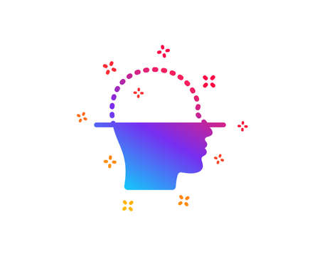 Face scanning icon. Facial scan sign. Head recognition symbol. Dynamic shapes. Gradient design face scanning icon. Classic style. Vector  イラスト・ベクター素材