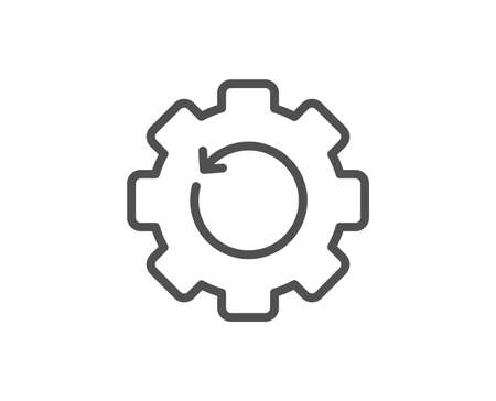 Recovery gear line icon. Backup data sign. Restore information symbol. Quality design element. Linear style recovery gear icon. Editable stroke. Vector Illustration
