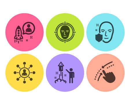 Startup, Face protection and Fireworks icons simple set. Face detect, Networking and Swipe up signs. Developer, Secure access. People set. Flat startup icon. Circle button. Vector Illustration
