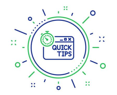 Quick tips line icon. Helpful tricks sign. Tutorials with timer symbol. Quality design elements. Technology quick tips button. Editable stroke. Vector Illustration