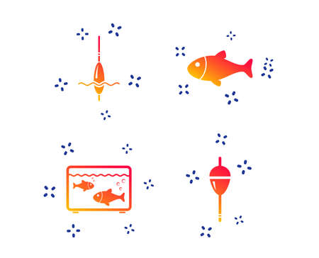 Fishing icons. Fish with fishermen hook sign. Float bobber symbol. Aquarium icon. Random dynamic shapes. Gradient fishing icon. Vector
