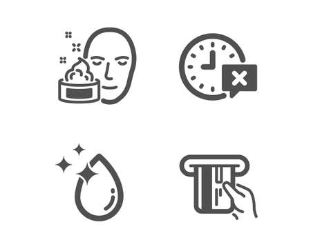 Set of Time, Face cream and Water drop icons. Credit card sign. Remove alarm, Gel, Crystal aqua. Atm payment.  Classic design time icon. Flat design. Vector