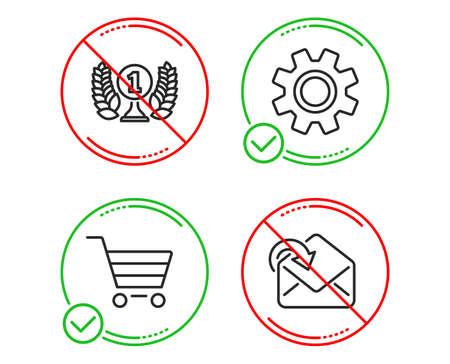 Do or Stop. Laureate award, Market sale and Service icons simple set. Receive mail sign. Prize, Customer buying, Cogwheel gear. Incoming message. Line laureate award do icon. Prohibited ban stop