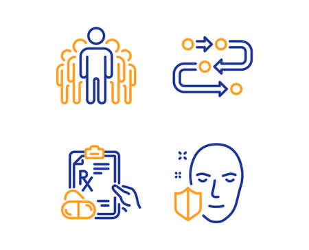 Group, Prescription drugs and Methodology icons simple set. Face protection sign. Managers, Pills, Development process. Secure access. Science set. Linear group icon. Colorful design set. Vector Standard-Bild - 123634935