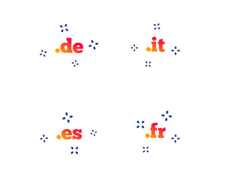 Top-level internet domain icons. De, It, Es and Fr symbols. Unique national DNS names. Random dynamic shapes. Gradient domain icon. Vector