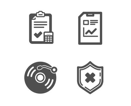 Set of Report document, Accounting checklist and Vinyl record icons. Reject protection sign. Statistics file, Calculator, Retro music. No security.  Classic design report document icon. Flat design
