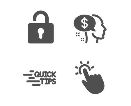 Set of Lock, Education and Pay icons. Touchpoint sign. Private locker, Quick tips, Beggar. Touch technology.  Classic design lock icon. Flat design. Vector Stock Vector - 123634985