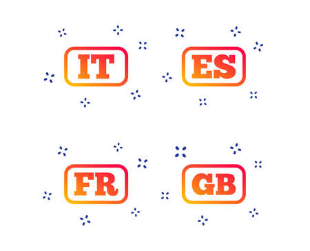 Language icons. IT, ES, FR and GB translation symbols. Italy, Spain, France and England languages. Random dynamic shapes. Gradient language icon. Vector Banque d'images - 123634991
