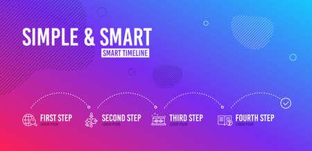 Infographic timeline. Block diagram, Music making and Internet search icons simple set. Help sign. Algorithm path, Dj app, Web finder. Documentation. Education set. 4 steps layout. Vector Illusztráció