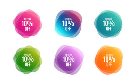 Blur shapes. Get Extra 10% off Sale. Discount offer price sign. Special offer symbol. Save 10 percentages. Color gradient sale banners. Market tags. Vector Иллюстрация