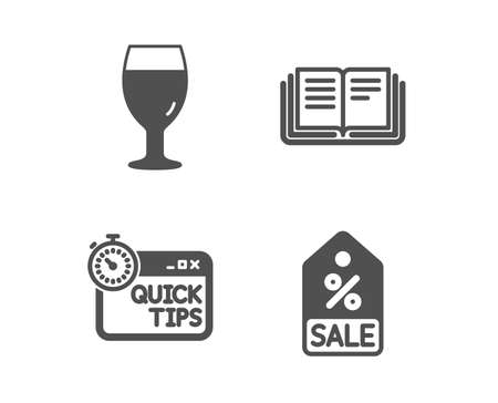 Set of Education, Quick tips and Beer glass icons. Sale coupon sign. Instruction book, Helpful tricks, Brewery beverage. Discount tag.  Classic design education icon. Flat design. Vector
