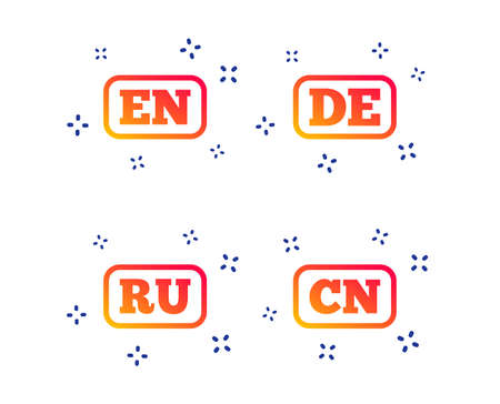 Language icons. EN, DE, RU and CN translation symbols. English, German, Russian and Chinese languages. Random dynamic shapes. Gradient language icon. Vector Standard-Bild - 123635730