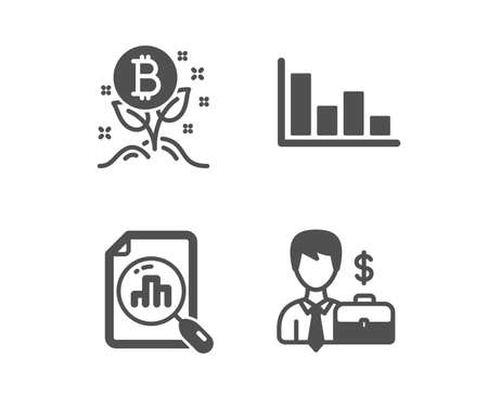 Set of Analytics graph, Histogram and Bitcoin project icons. Businessman case sign. Chart report, Economic trend, Cryptocurrency startup. Human resources. Classic design analytics graph icon. Vector