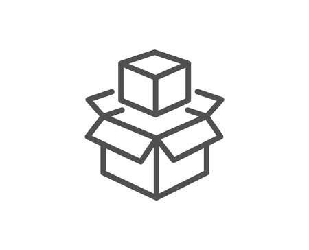 Box line icon. Delivery parcel sign. Packing boxes symbol. Quality design element. Linear style packing boxes icon. Editable stroke. Vector