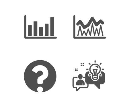 Set of Column chart, Investment and Question mark icons. Idea sign. Financial graph, Economic statistics, Ask support. Solution.  Classic design column chart icon. Flat design. Vector Banque d'images - 123635797