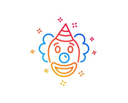 Clown line icon. Amusement park funnyman sign. Gradient design elements. Linear clown icon. Random shapes. Vector Illustration