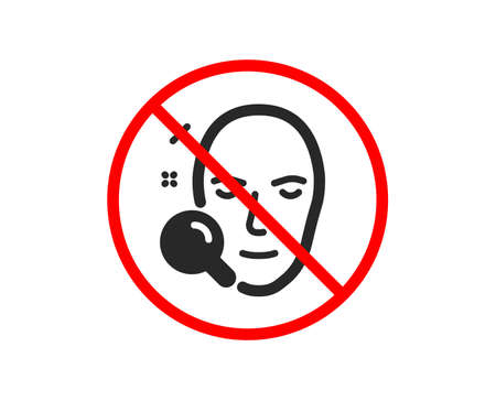 No or Stop. Face search icon. Head recognition sign. Prohibited ban stop symbol. No face search icon. Vector