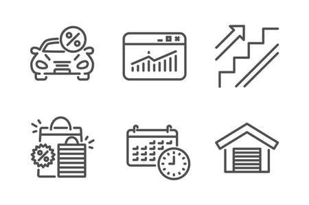 Calendar, Website statistics and Car leasing icons simple set. Stairs, Shopping bags and Parking garage signs. Time, Data analysis. Business set. Line calendar icon. Editable stroke. Vector