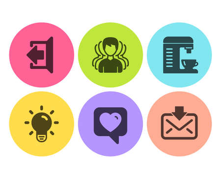 Group, Sign out and Light bulb icons simple set. Coffee machine, Heart and Incoming mail signs. Headhunting service, Logout. Business set. Flat group icon. Circle button. Vector