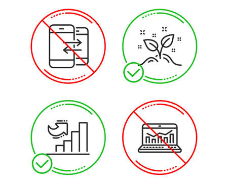 Do or Stop. Growth chart, Phone communication and Startup concept icons simple set. Web analytics sign. Diagram graph, Incoming and outgoing calls, Launch project. Statistics. Education set. Vector