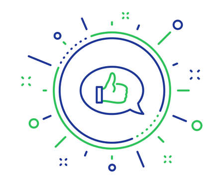 Positive feedback line icon. Communication symbol. Speech bubble sign. Quality design elements. Technology feedback button. Editable stroke. Vector  イラスト・ベクター素材