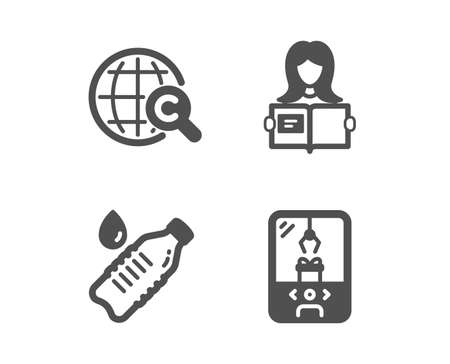 Set of International Ð¡opyright, Woman read and Water bottle icons. Crane claw machine sign. World copywriting, Girl studying, Still drink. Attraction park. Vector