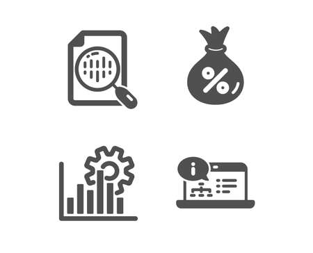 Set of Analytics chart, Seo graph and Loan icons. Online documentation sign. Report analysis, Analytics chart, Money bag. Web engineering. Classic design analytics chart icon. Flat design. Vector