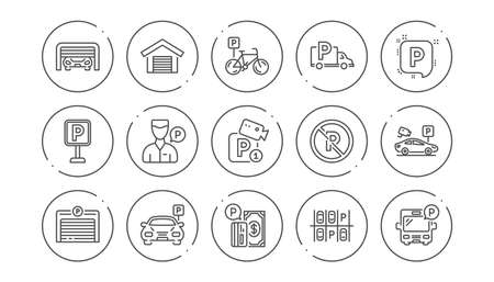 Parking line icons. Garage, Valet servant and Paid parking. Car transport park place linear icon set. Line buttons with icon. Editable stroke. Vector Illustration