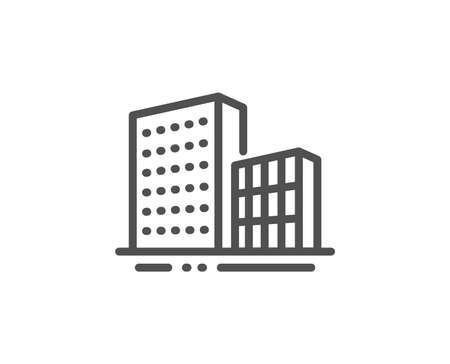 Buildings line icon. City architecture sign. Skyscraper building symbol. Quality design element. Linear style buildings icon. Editable stroke. Vector