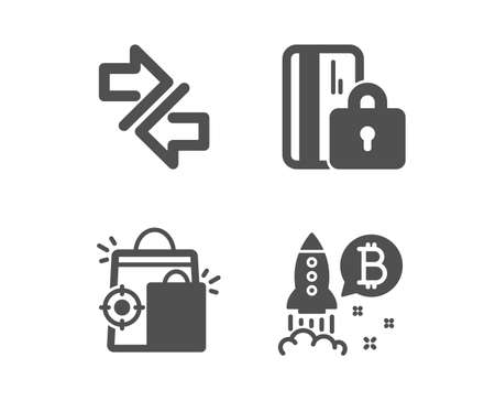 Set of Seo shopping, Synchronize and Blocked card icons. Bitcoin project sign. Analytics, Communication arrows, Private money. Cryptocurrency startup. Classic design seo shopping icon. Flat design